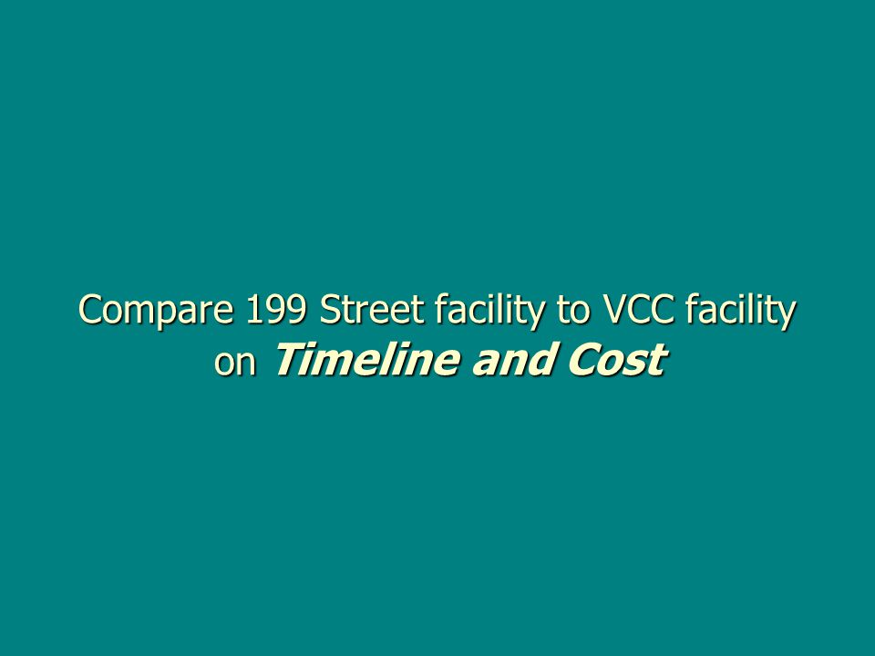Compare 199 Street facility to VCC facility on Timeline and Cost