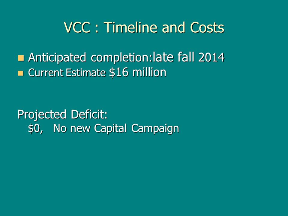 VCC : Timeline and Costs Anticipated completion: late fall 2014 Anticipated completion: late fall 2014 Current Estimate $16 million Current Estimate $16 million Projected Deficit: $0, No new Capital Campaign $0, No new Capital Campaign
