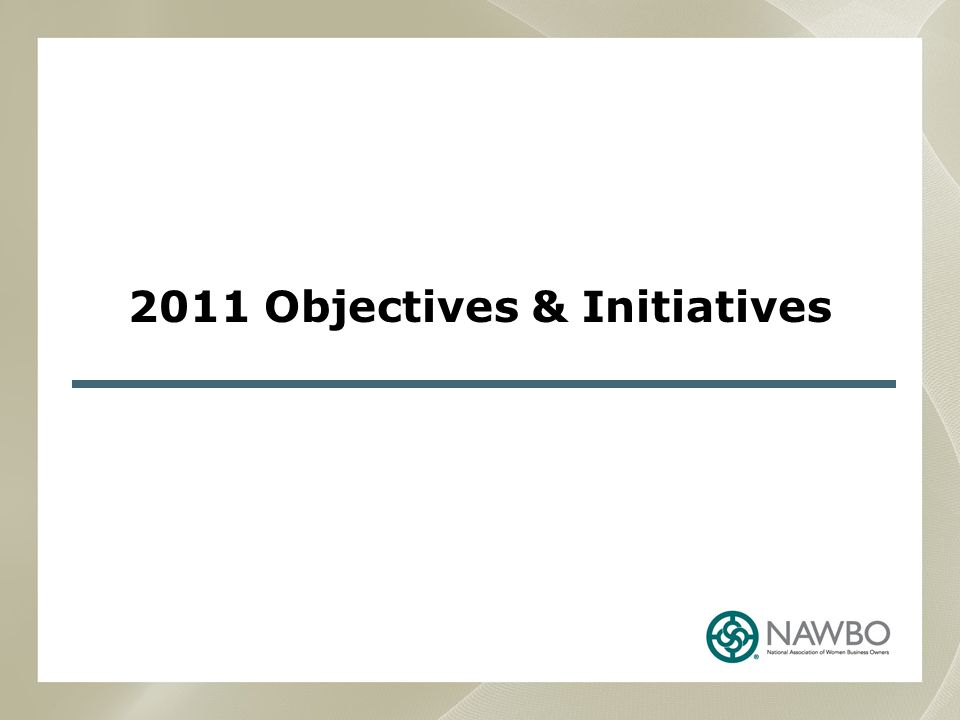 2011 Objectives & Initiatives