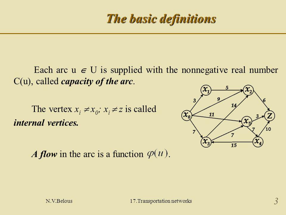 N.V.Belous17.Transportation networks 4 Properties of the flow Properties of the flow : 1.
