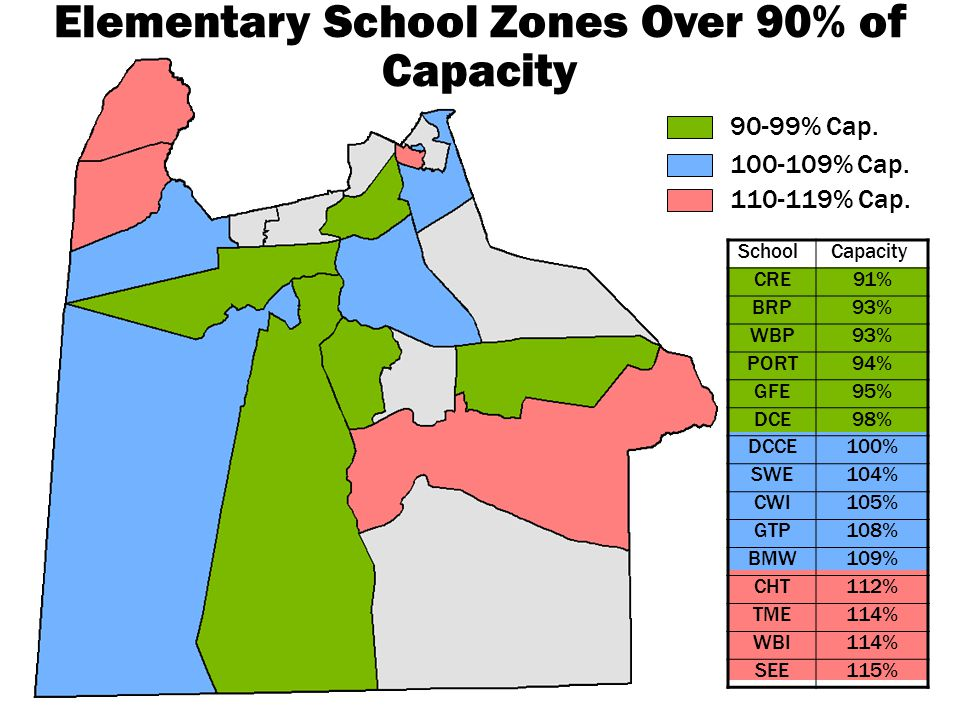 90-99% Cap. 100-109% Cap. 110-119% Cap. Elementary School Zones Over 90% of Capacity School Capacity CRE91% BRP93% WBP93% PORT94% GFE95% DCE98% DCCE10