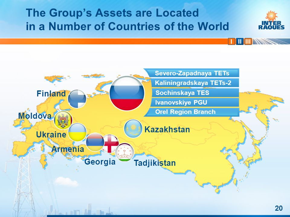 IIIIII 20 The Groups Assets are Located in a Number of Countries of the World Severo-Zapadnaya TETs Kaliningradskaya TETs-2 Ivanovskiye PGU Orel Region Branch Finland Moldova Armenia Georgia Ukraine Tadjikistan Kazakhstan Sochinskaya TES