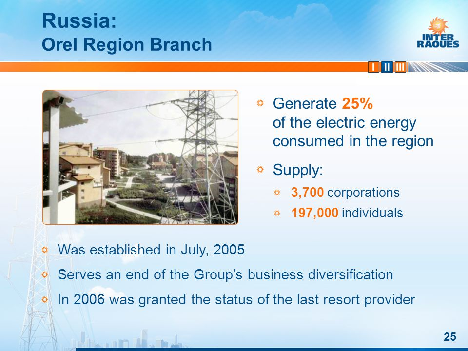 IIIIII 25 Russia: Orel Region Branch Was established in July, 2005 Serves an end of the Groups business diversification In 2006 was granted the status of the last resort provider Generate 25% of the electric energy consumed in the region Supply: 3,700 corporations 197,000 individuals