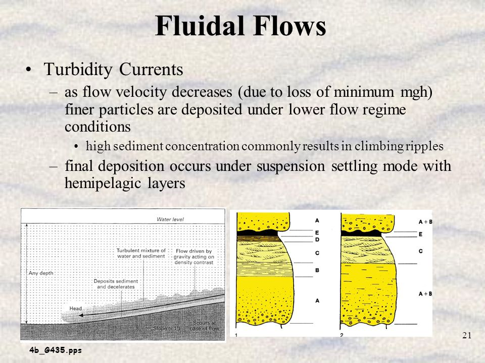 4b_G435.pps 21 Fluidal Flows Turbidity Currents –as flow velocity decreases (due to loss of minimum mgh) finer particles are deposited under lower flow regime conditions high sediment concentration commonly results in climbing ripples –final deposition occurs under suspension settling mode with hemipelagic layers