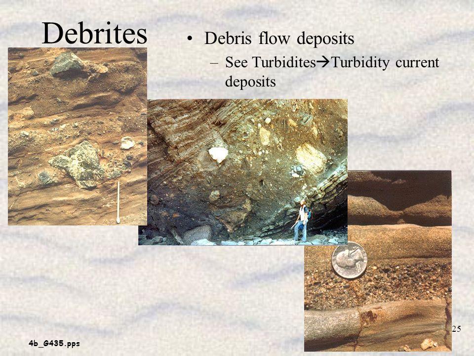 4b_G435.pps 25 Debrites Debris flow deposits –See Turbidites Turbidity current deposits