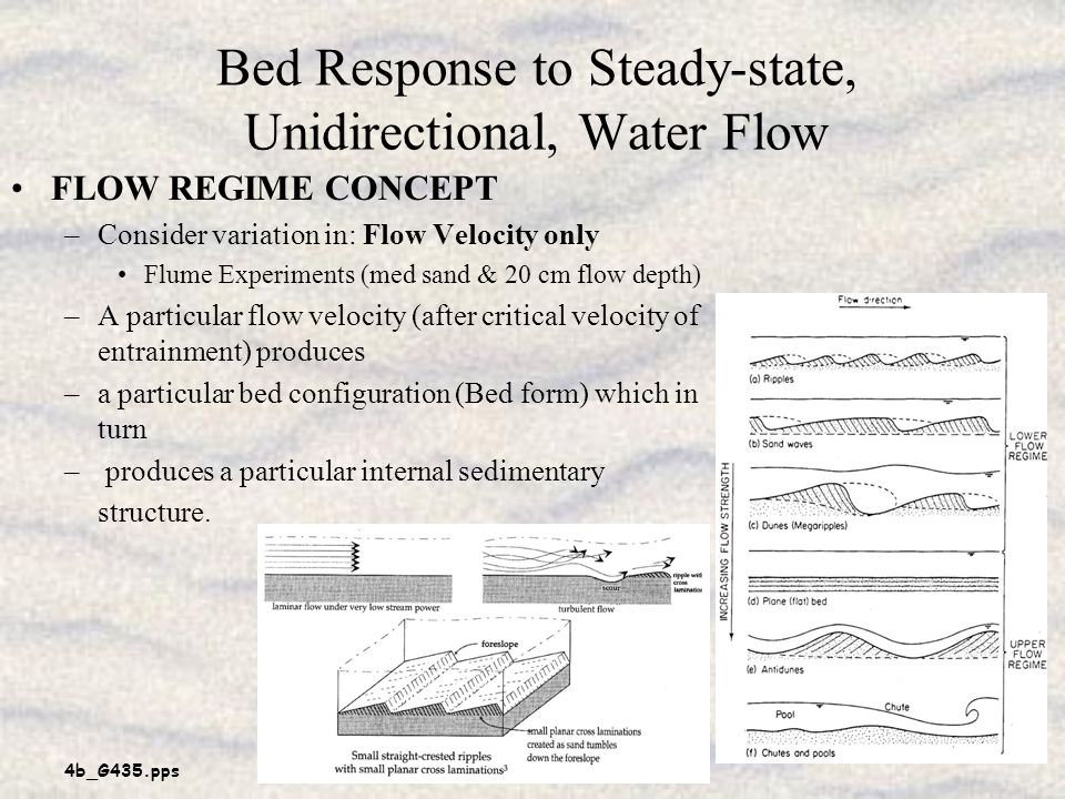 4b_G435.pps 4 Bed Response to Steady-state, Unidirectional, Water Flow FLOW REGIME CONCEPT –Consider variation in: Flow Velocity only Flume Experiments (med sand & 20 cm flow depth) –A particular flow velocity (after critical velocity of entrainment) produces –a particular bed configuration (Bed form) which in turn – produces a particular internal sedimentary structure.