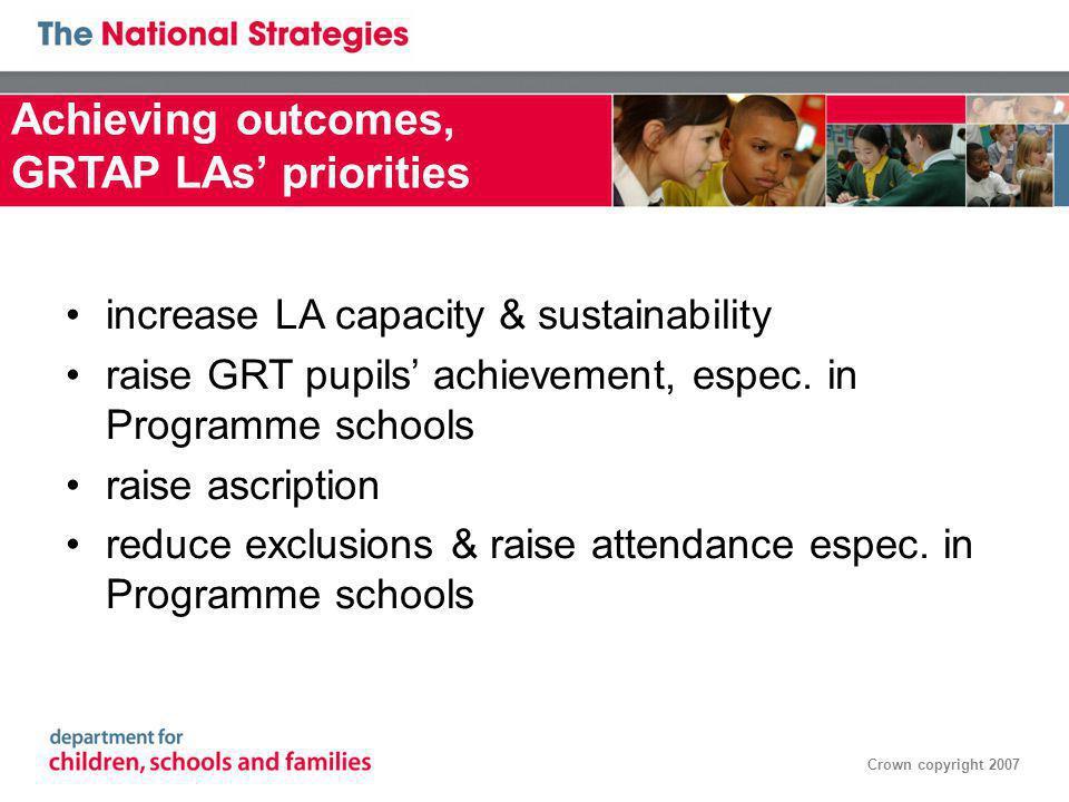 Crown copyright 2007 increase LA capacity & sustainability raise GRT pupils achievement, espec.
