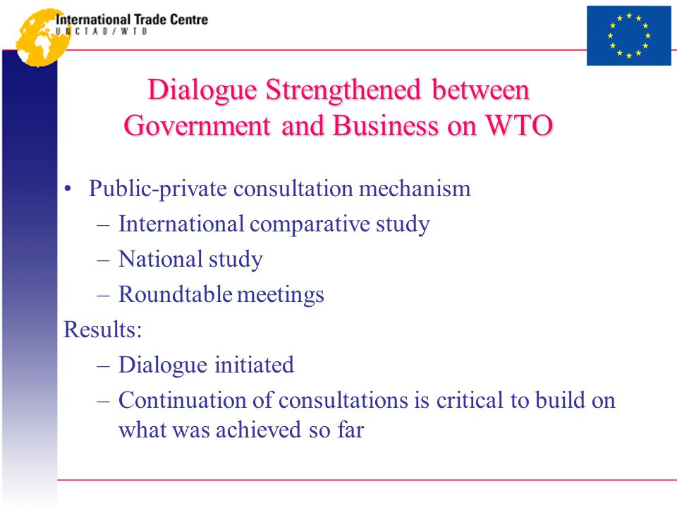 Dialogue Strengthened between Government and Business on WTO Public-private consultation mechanism –International comparative study –National study –Roundtable meetings Results: –Dialogue initiated –Continuation of consultations is critical to build on what was achieved so far