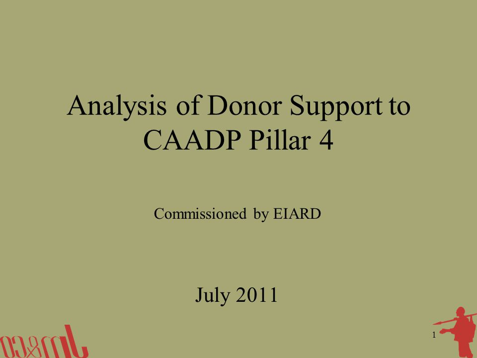 1 Analysis of Donor Support to CAADP Pillar 4 Commissioned by EIARD July 2011