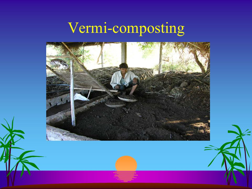 F. Composting Present status s We have only one method of composting as of now, which is Vermi composting. s Capacity of VC plant is 2-3 ton productio