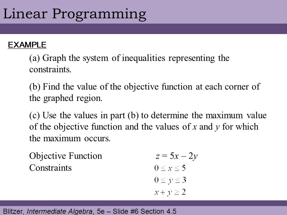 Blitzer, Intermediate Algebra, 5e – Slide #6 Section 4.5 Linear ProgrammingEXAMPLE (a) Graph the system of inequalities representing the constraints.