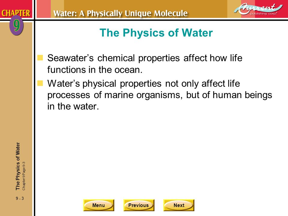 MenuPreviousNext 9 - 4 Heat and Heat Capacity nTemperature is crucial in determining where organisms can live in the ocean.