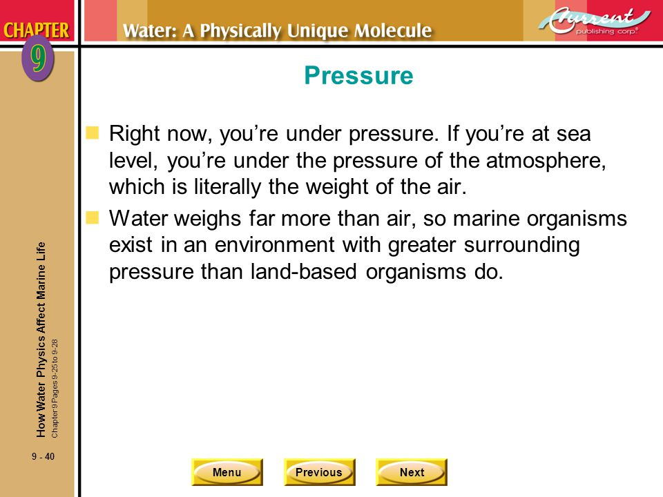 MenuPreviousNext 9 - 40 Pressure nRight now, youre under pressure. If youre at sea level, youre under the pressure of the atmosphere, which is literal