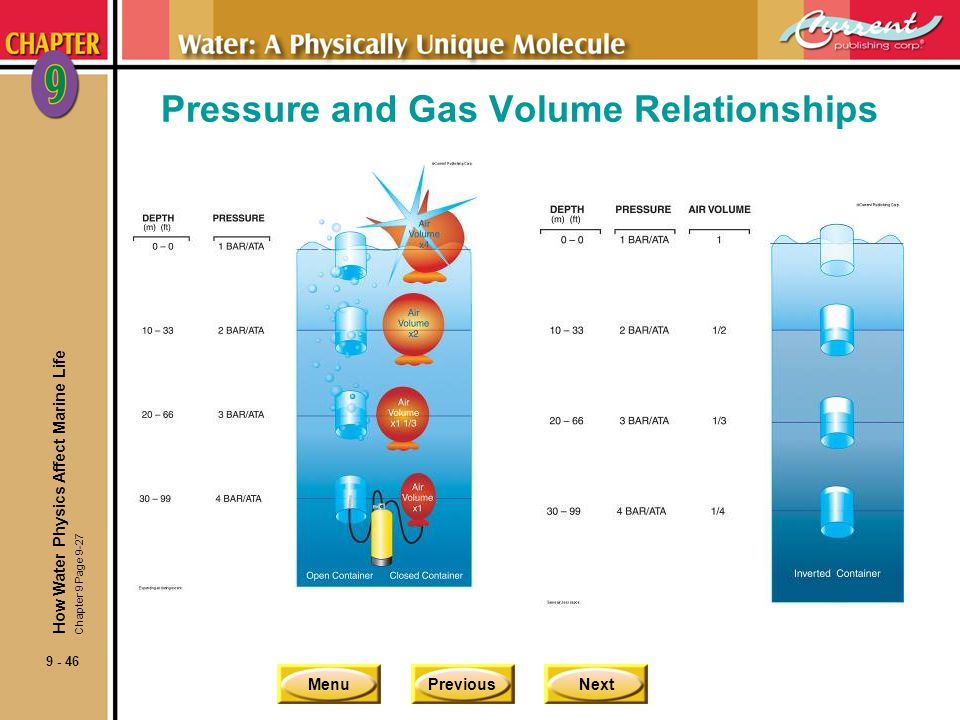 MenuPreviousNext 9 - 46 Pressure and Gas Volume Relationships How Water Physics Affect Marine Life Chapter 9 Page 9-27