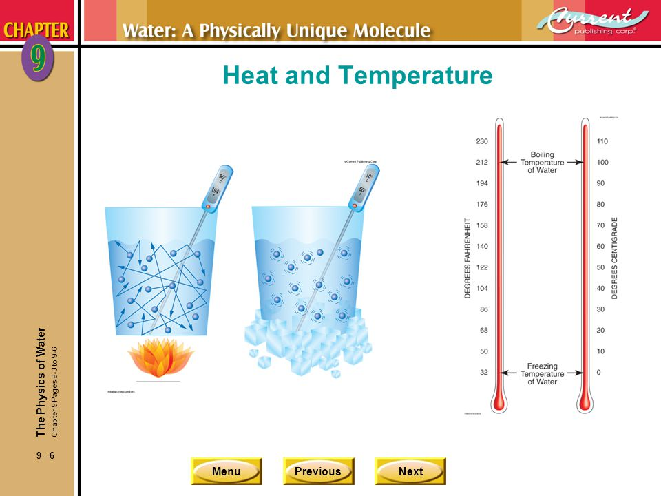 MenuPreviousNext 9 - 7 Heat and Heat Capacity nHeat capacity of a substance is the amount of heat energy required to raise a given amount of a substance by a given temperature.