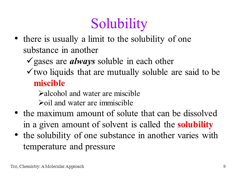 Tro, Chemistry: A Molecular Approach60 the unit is correct, the magnitude is reasonable Ex 12.4d – What is the mole percent of a solution prepared by mixing 17.2 g of C 2 H 6 O 2 with 0.500 kg of H 2 O to make 515 mL of solution.
