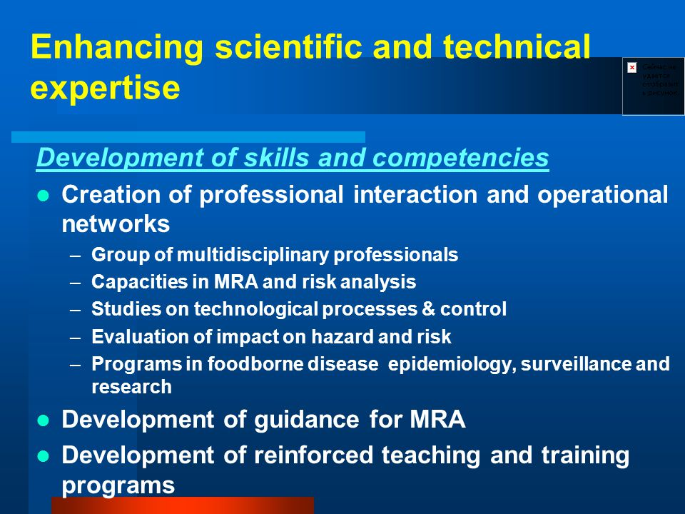 Enhancing scientific and technical expertise Development of skills and competencies Creation of professional interaction and operational networks –Group of multidisciplinary professionals –Capacities in MRA and risk analysis –Studies on technological processes & control –Evaluation of impact on hazard and risk –Programs in foodborne disease epidemiology, surveillance and research Development of guidance for MRA Development of reinforced teaching and training programs