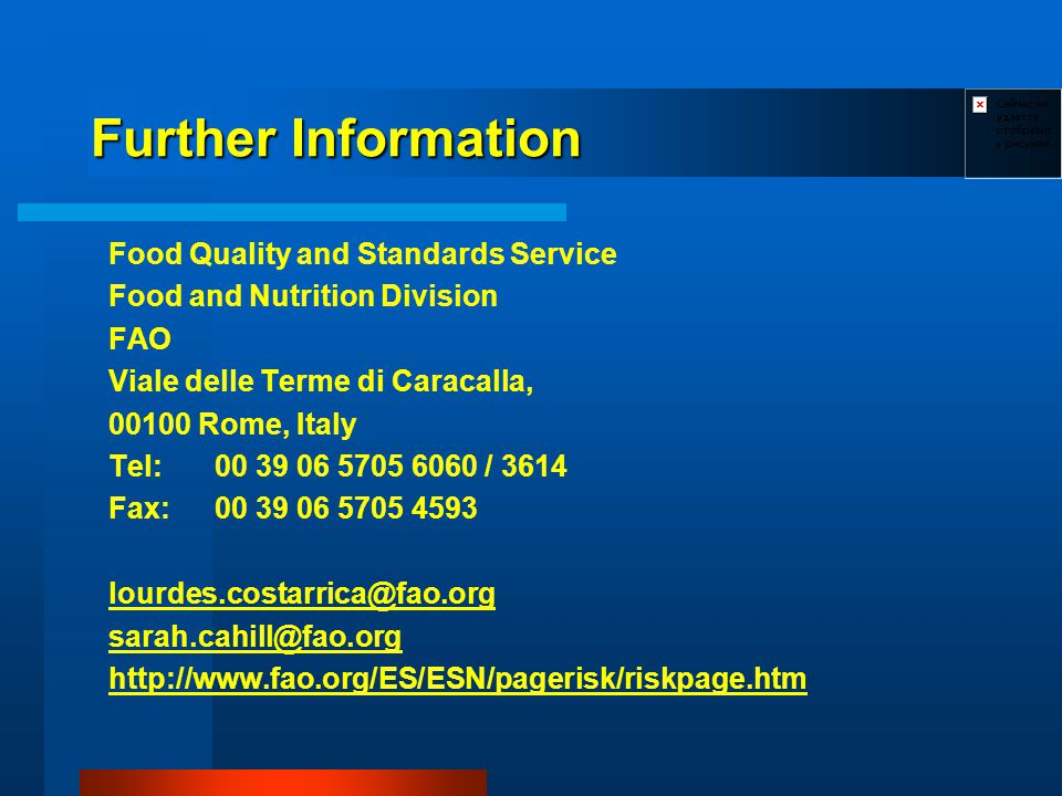 Further Information Food Quality and Standards Service Food and Nutrition Division FAO Viale delle Terme di Caracalla, Rome, Italy Tel: / 3614 Fax:
