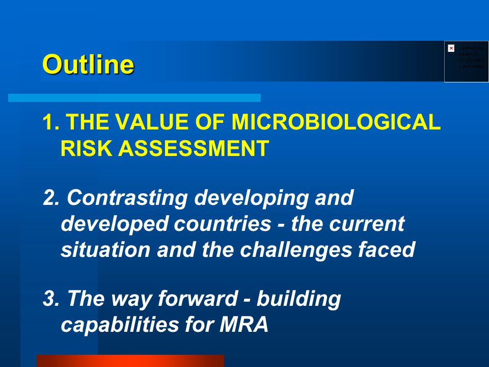 Outline 1. THE VALUE OF MICROBIOLOGICAL RISK ASSESSMENT 2.