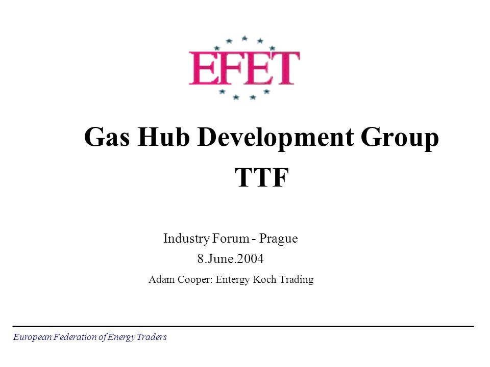 European Federation of Energy Traders Gas Hub Development Group TTF Industry Forum - Prague 8.June.2004 Adam Cooper: Entergy Koch Trading
