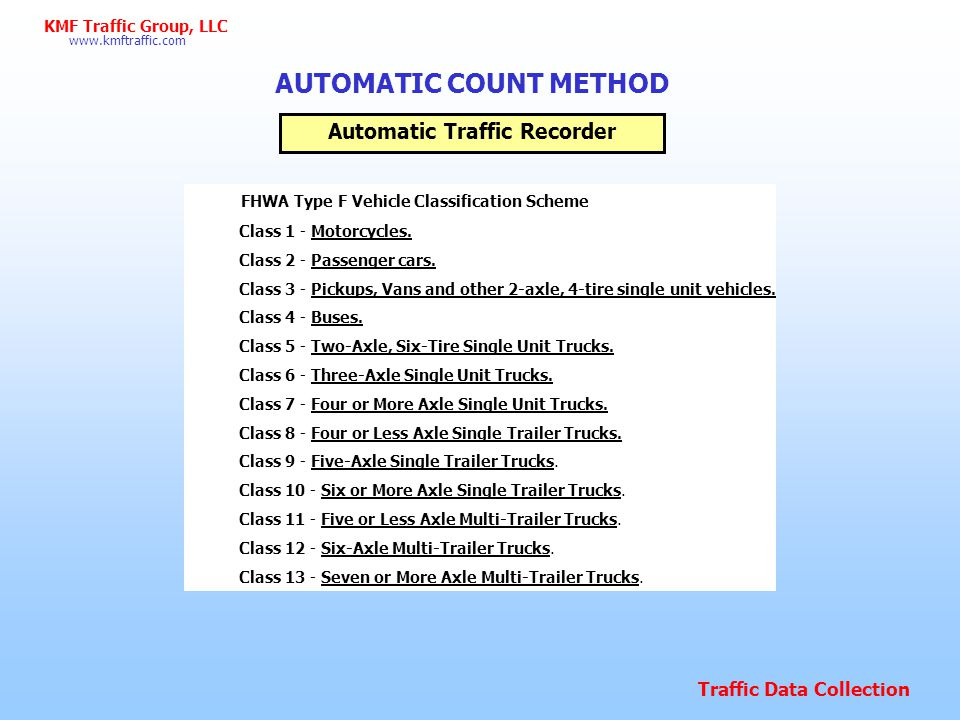 Traffic Data Collection www.kmftraffic.com KMF Traffic Group, LLC 7-9 AM and 4-6 PM weekday Varies based on school release times Sample of counted periods.