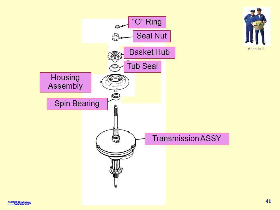 Atlantis III 41 O Ring Seal Nut Basket Hub Tub Seal Spin Bearing Transmission ASSY Housing Assembly
