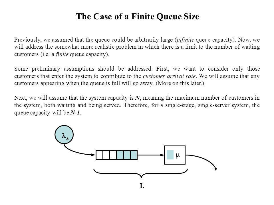 The Case of a Finite Queue Size Previously, we assumed that the queue could be arbitrarily large (infinite queue capacity).