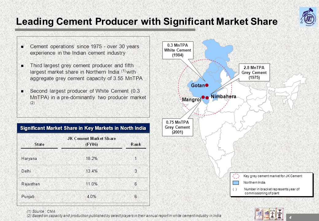 4 Leading Cement Producer with Significant Market Share n Cement operations since 1975 - over 30 years experience in the Indian cement industry n Thir