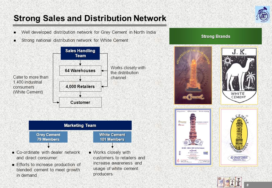 8 Strong Sales and Distribution Network n Well developed distribution network for Grey Cement in North India n Strong national distribution network fo