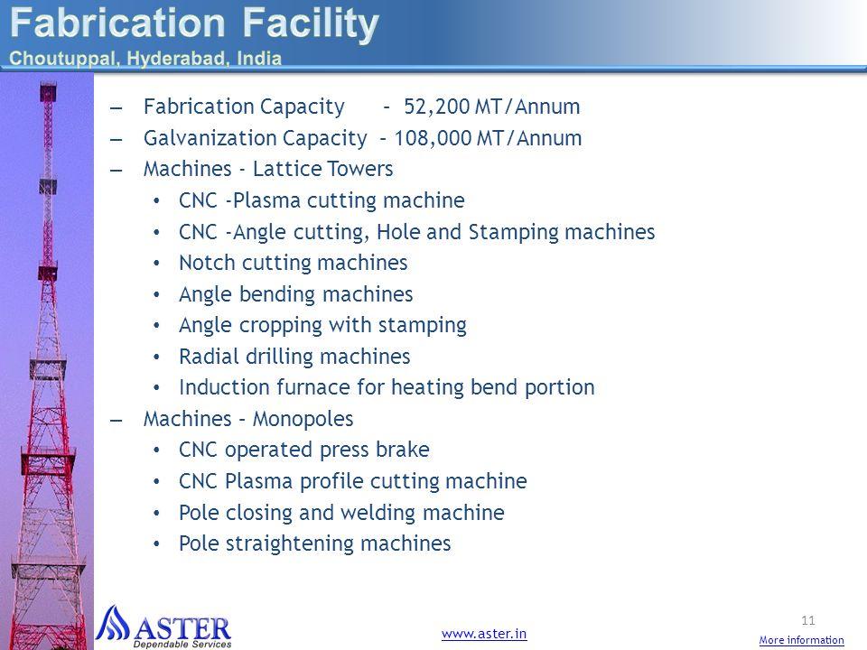 – Fabrication Capacity – 52,200 MT/Annum – Galvanization Capacity – 108,000 MT/Annum – Machines - Lattice Towers CNC -Plasma cutting machine CNC -Angl