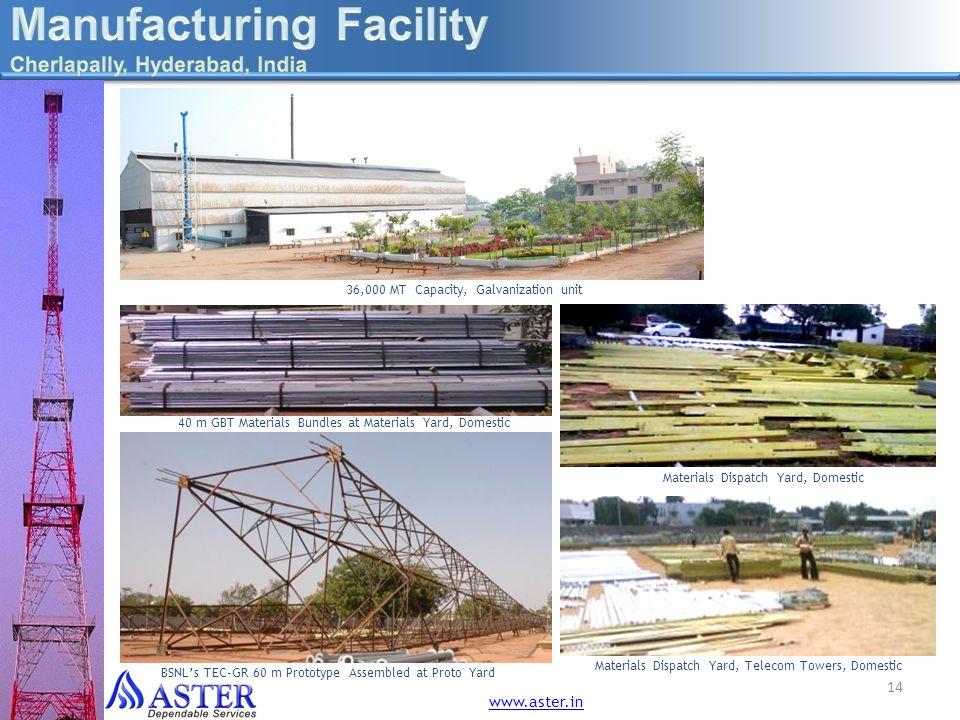 36,000 MT Capacity, Galvanization unit 14 40 m GBT Materials Bundles at Materials Yard, Domestic Materials Dispatch Yard, Telecom Towers, Domestic Mat