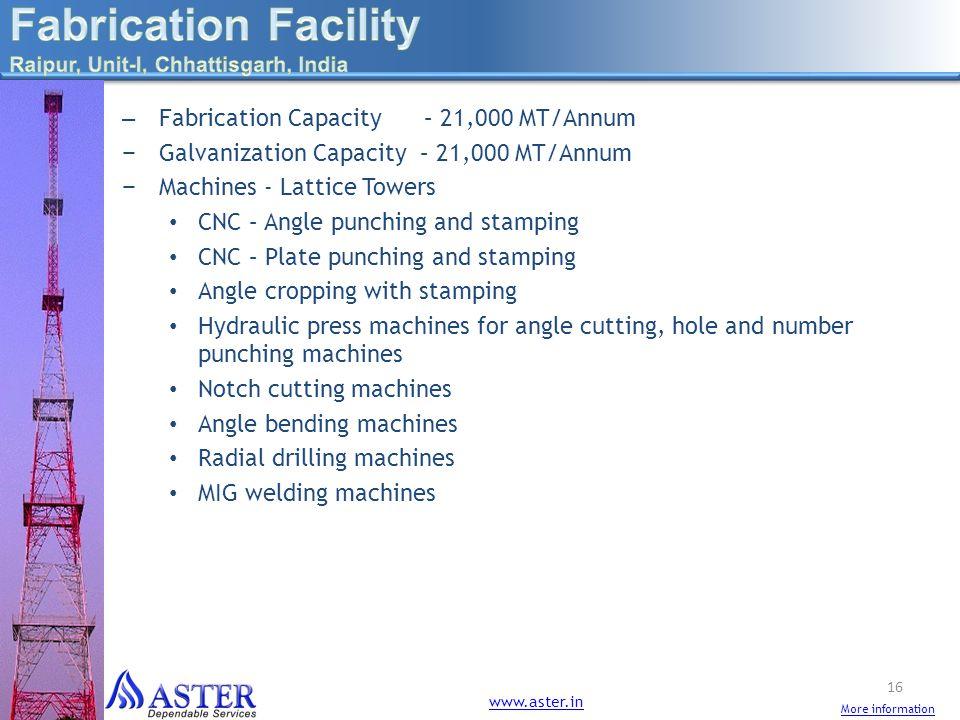 – Fabrication Capacity – 21,000 MT/Annum Galvanization Capacity – 21,000 MT/Annum Machines - Lattice Towers CNC – Angle punching and stamping CNC – Pl