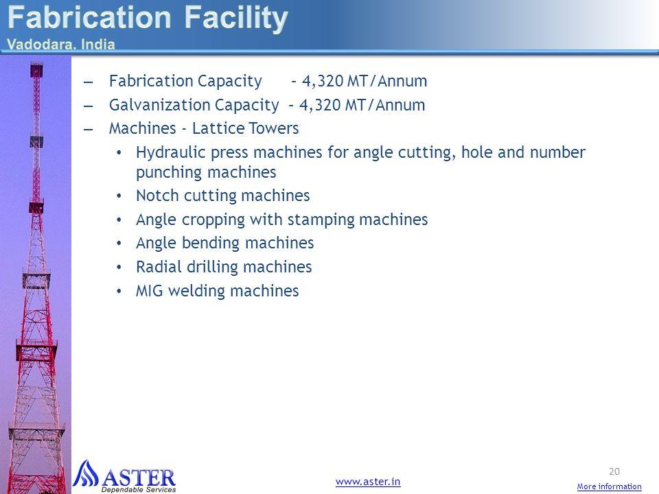 – Fabrication Capacity – 4,320 MT/Annum – Galvanization Capacity – 4,320 MT/Annum – Machines - Lattice Towers Hydraulic press machines for angle cutti