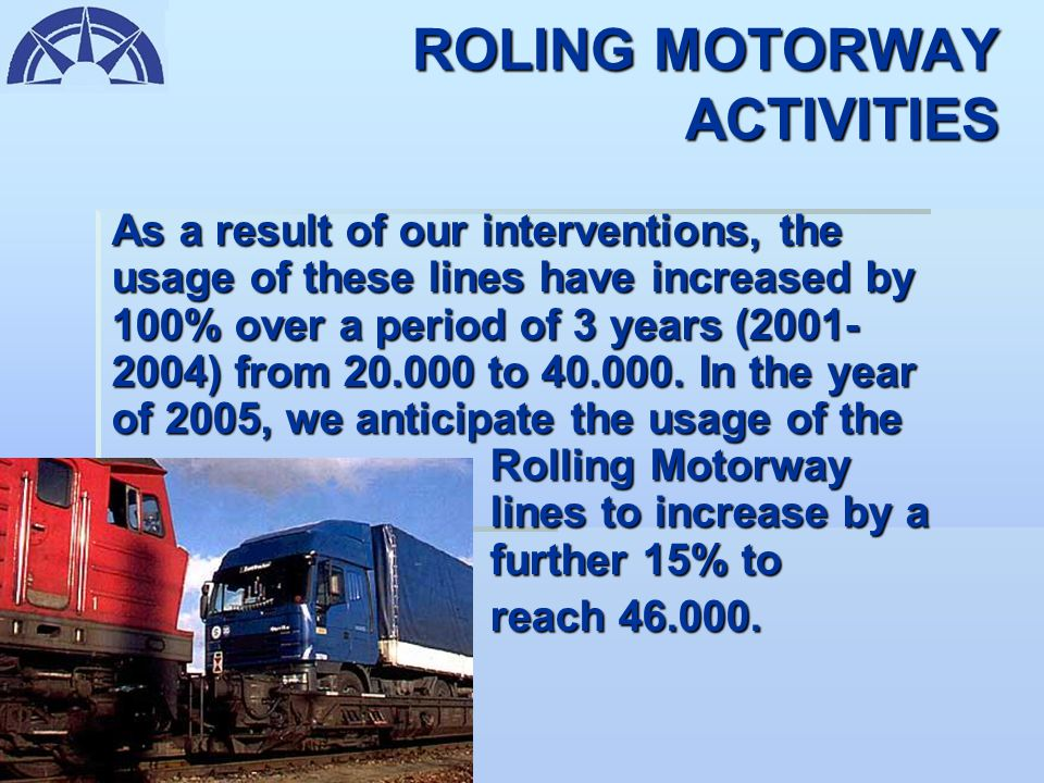 ROLLING MOTORWAY ACTIVITIES We are continuously encouraging our members to utilize the Road-Rail combinations in Europe, particularly in Hungary-Austr