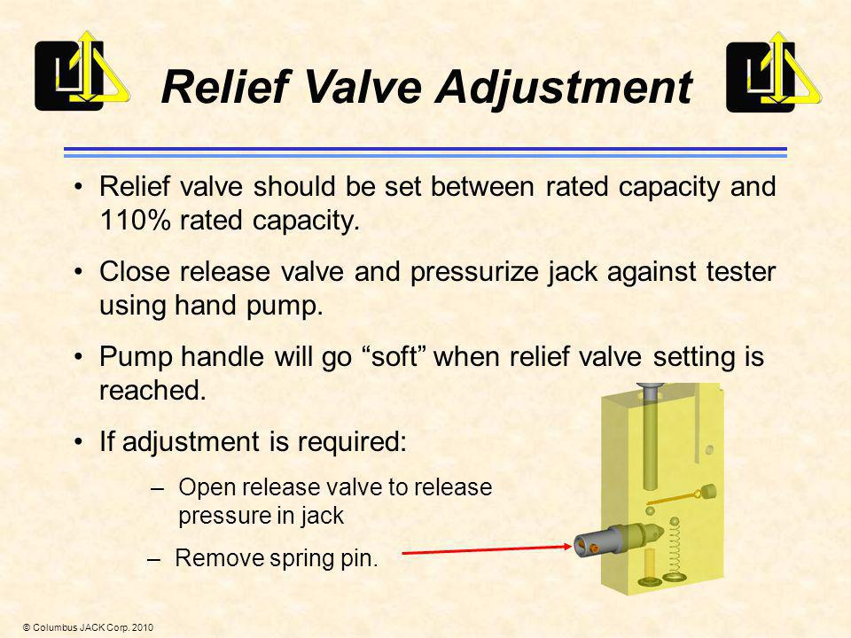© Columbus JACK Corp. 2010 Relief Valve Adjustment Relief valve should be set between rated capacity and 110% rated capacity. Close release valve and