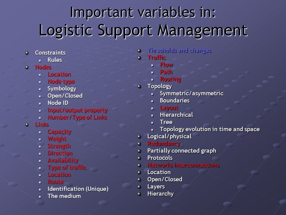 Important variables in: Logistic Support Management Constraints Rules RulesNodes Location Location Node type Node type Symbology Symbology Open/Closed Open/Closed Node ID Node ID Input/output property Input/output property Number/Type of Links Number/Type of LinksLinks Capacity Capacity Weight Weight Strength Strength Direction Direction Availability Availability Type of traffic Type of traffic Location Location Route Route Identification (Unique) Identification (Unique) The medium The medium Thresholds and changes Traffic Flow Path RoutingTopology Symmetric/asymmetric Boundaries Layout Hierarchical Tree Topology evolution in time and spaceLogical/physicalRedundancy Partially connected graph Protocols Networks interconnections LocationOpen/ClosedLayersHierarchy