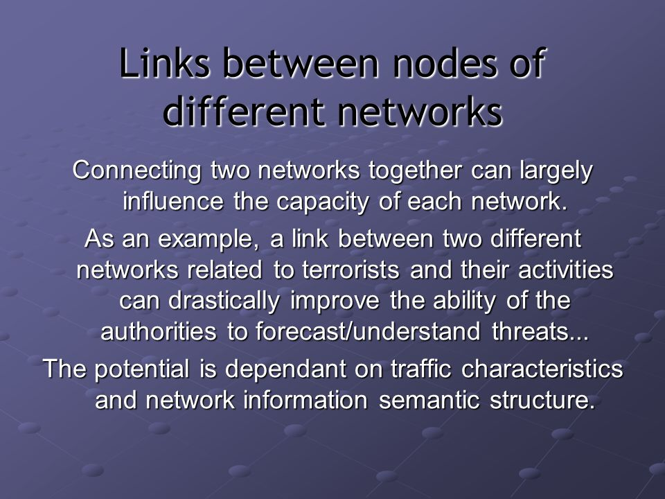 Links between nodes of different networks Connecting two networks together can largely influence the capacity of each network.