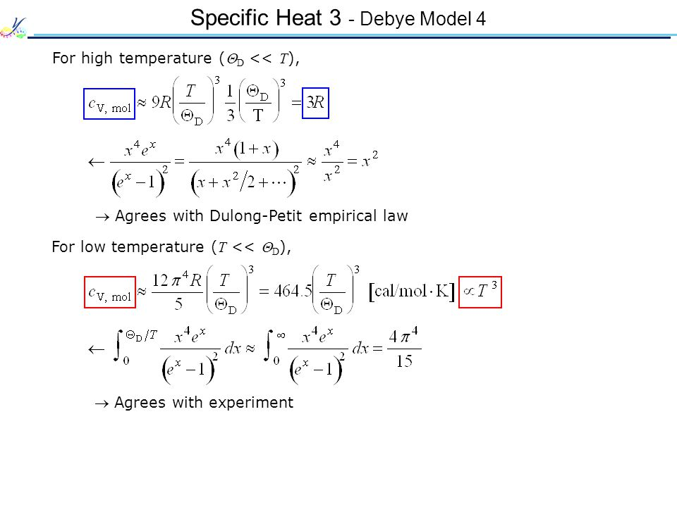 Specific Heat 3 - Debye Model 4 For high temperature ( D << T ), For low temperature ( T << D ), Agrees with Dulong-Petit empirical law Agrees with experiment