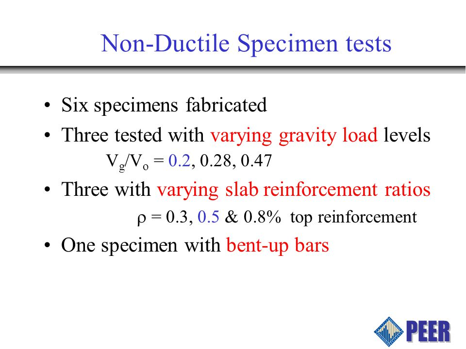 Model Verification Comparison with data from tests performed at other universities Comparison with data from PEER non- ductile tests Verification of the models predicted energy dissipation to the measured energy dissipation