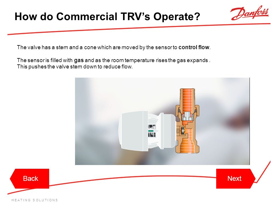 H E A T I N G S O L U T I O N S How do Commercial TRVs Operate? The valve has a stem and a cone which are moved by the sensor to control flow. The sen
