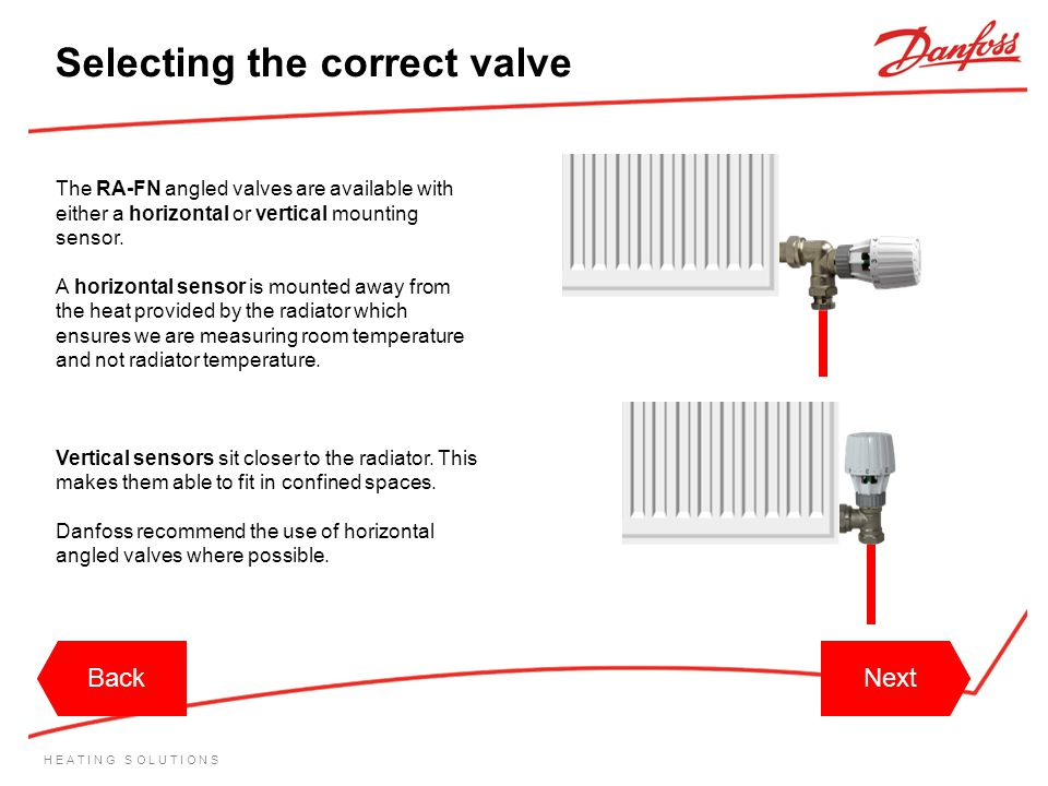 H E A T I N G S O L U T I O N S The RA-FN angled valves are available with either a horizontal or vertical mounting sensor. A horizontal sensor is mou