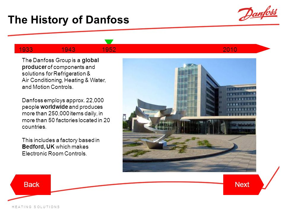 H E A T I N G S O L U T I O N S 1933194319522010 The Danfoss Group is a global producer of components and solutions for Refrigeration & Air Conditioni