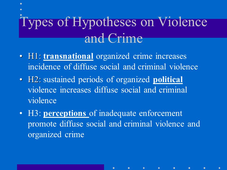Types of Hypotheses on Violence and Crime H1:H1: transnational organized crime increases incidence of diffuse social and criminal violence H2:H2: sustained periods of organized political violence increases diffuse social and criminal violence H3: perceptions of inadequate enforcement promote diffuse social and criminal violence and organized crime