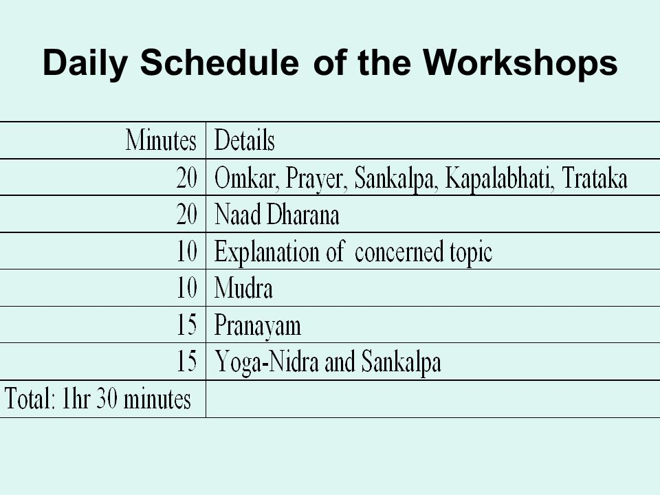 Daily Schedule of the Workshops