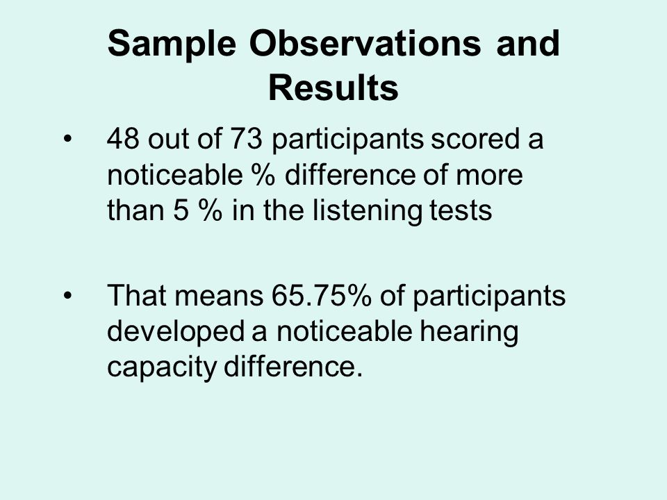 Sample Observations and Results 48 out of 73 participants scored a noticeable % difference of more than 5 % in the listening tests That means 65.75% of participants developed a noticeable hearing capacity difference.
