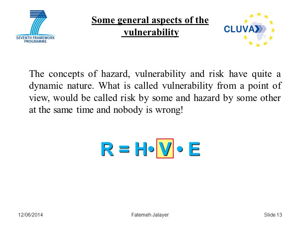12/06/2014Fatemeh JalayerSlide 13 Some general aspects of the vulnerability The concepts of hazard, vulnerability and risk have quite a dynamic nature.