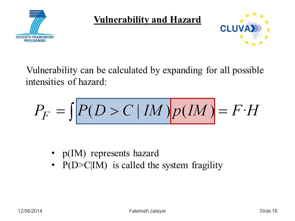 12/06/2014Fatemeh JalayerSlide 18 Vulnerability and Hazard Vulnerability can be calculated by expanding for all possible intensities of hazard: p(IM)