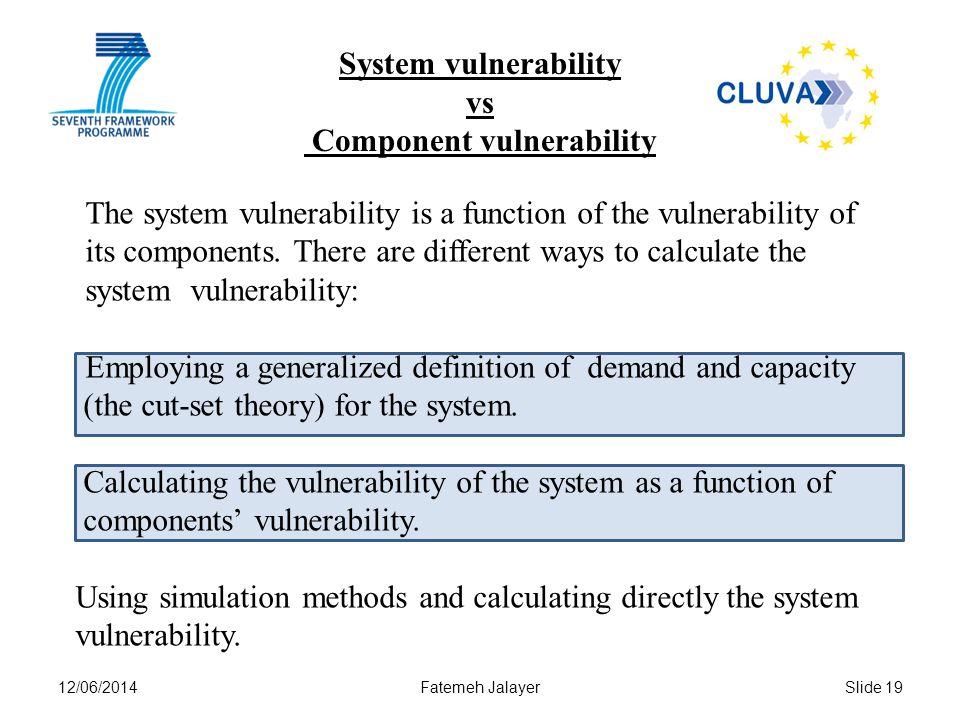 12/06/2014Fatemeh JalayerSlide 19 System vulnerability vs Component vulnerability The system vulnerability is a function of the vulnerability of its components.