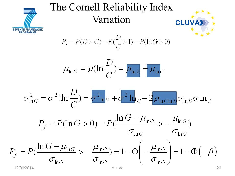 The Cornell Reliability Index Variation 12/06/2014Autore26
