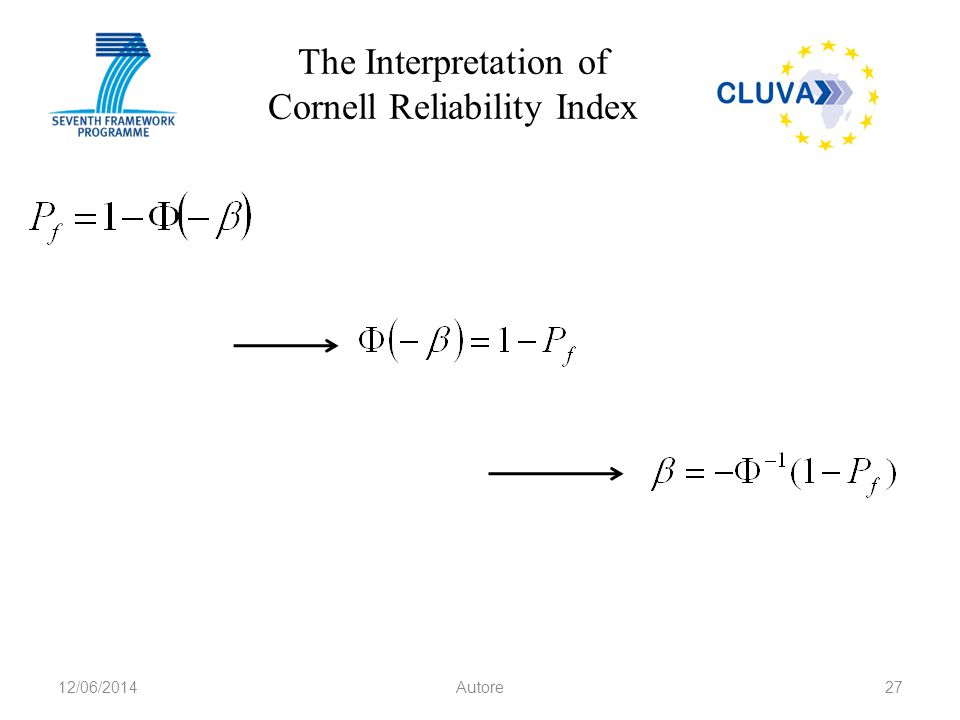 The Interpretation of Cornell Reliability Index 12/06/2014Autore27